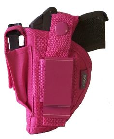 Pink Intimidator - Clips on or belts on. Easy to use left or right handed by simply moving thumb break & clip. Adjustable spring action thumb break. Outer layer is Cordura Ballistic Nylon. Inner layers of vinyl vapor barrier, inner padding & soft nylon lining. Stitched w/ strong bonded nylon & double stitched at pressure points. This holster is made in 4 different sizes to fit various sized automatics & snub nose revolvers. $18.99 - 10% discount w/coupon code CHRISTMAS