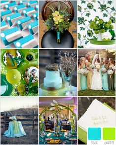 wedding inspiration, teal and green wedding colors/ like these colors