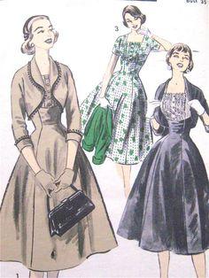 Uncut Advance 7865 1950s Dress and Bolero Jacket by Fancywork, $15.00