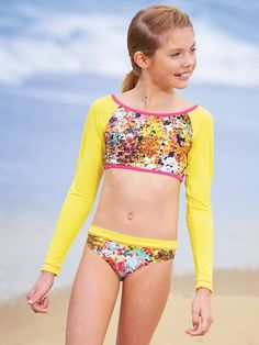 From CWDkids: Floral Cropped Rash Guard Set