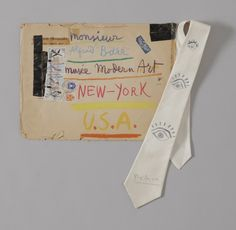 Hand-decorated envelope and tie sent by Pablo Picasso to MoMA director Alfred H. Barr, Jr.. 1957 via friendsxfamily