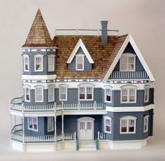 Queen Anne Dollhouse Kit by Real Good Toys Dollhouse Kits, Wooden Dollhouse, Dollhouse Miniatures, Dollhouse Bookcase, Dollhouse Design, Victorian Dolls, Victorian Dollhouse, Victorian Houses, Miniature Houses