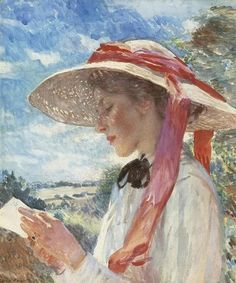 Dame Laura Knight (English Impressionist, 1877-1970) ~ A Girl Reading [Florence Carter Wood]