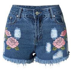Trendy Embroideried Broken Hole Macrame Denim Women's Shorts (€17) ❤ liked on Polyvore featuring shorts, bottoms, short, crochet shorts, crochet denim shorts, denim shorts, macrame shorts and denim short shorts