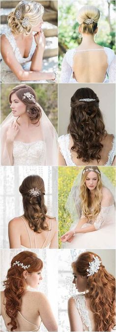 wedding hairstyles with gorgeous accessories from Bel Aire Bridal / http://www.himisspuff.com/bridal-wedding-hairstyles-for-long-hair/18/