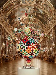 flower matango' by takashi murakami, 2001-2006 (fiberglass, iron, oil paint and acrylic)  photo : cedric delsaux – the hall of mirrors / château de Versailles