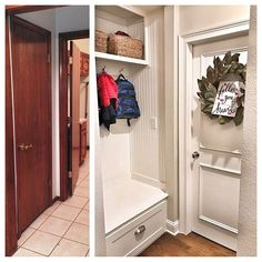 When we bought our house three years ago it was all original... lots of OAK and BRASS (like a lot of oak and brass 1992 style). We did a total overhaul top to bottom.  We turned this entry way closet into a mini mudroom.  It is still one of my favorite things we did during the renovation.  It  serves its purpose well. It holds all of our coats, bags, shoes, hats, gloves, etc, etc, etc. #makeovermonday #diy #renovation #interiordesign #interiordivine #mudroom    #Regram via @interior_divine