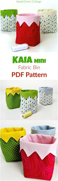 DIY Mini Fabric Bin - just the cutest little bin to sew! It's an easy beginner sewing project. Get the totally new PDF pattern and step-by-step instructions on Craftsy. Imagine one of these little handy bins filled with satin ribbons. Or little colorful buttons. Displayed on a shelf at home. Adorable, I know!