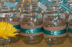 *** DEFINITE TO DO! DECOR FOR CENTERPIECES. MASON JARS, BURLAP, BLUE RIBBON, SAFETY PIN, EASTER LILLIES.