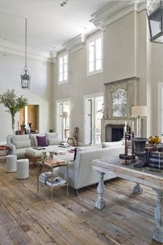 Living room with rustic wood floors! love the high ceilings and wood floors! Home Living Room, Living Spaces, Living Area, Sweet Home, Deco Design, Home And Deco, White Decor, My Dream Home, Dream Homes