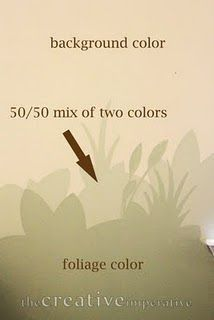 Genius - when painting wall designs, mix the background color with the design color for a middle ground. Looks great.