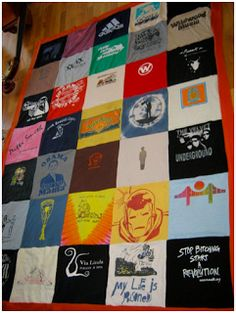 upcycled/redycled t-shirt blanket tutorial