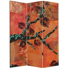 Oriental Furniture 5 ft Tall Winter/'s Peace Canvas Room Divider