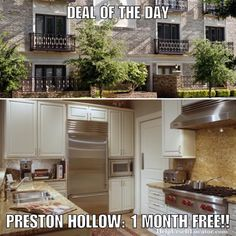 Deal of the Day: PRESTON HOLLOW: 1 MONTH FREE!! Not going to lie these are f'in expensive but suuuuuuuuuuper nice. Apartment is paying 100% of 1 months rent as commission which they pay out of their advertising budget in order to get new tenants. We then split our commission with you as a thank you for using our service. NOTES: Built as condos-Spacious with high-end finish out including Sub Zero refrigerators Wolff 6 burner gas ranges private elevators 10' ceilings with crown molding wood or…