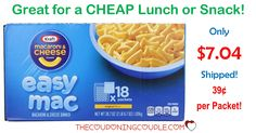 WOOHOO! The kids are going to love this! Get an 18 count box of Kraft Easy Mac for only $7.04 shipped! That is only $0.39 each! What a cheap snack or quick lunch!  Click the link below to get all of the details ► http://www.thecouponingcouple.com/hot-deal-kraft-easy-mac-only-657-shipped/ #Coupons #Couponing #CouponCommunity  Visit us at http://www.thecouponingcouple.com for more great posts!