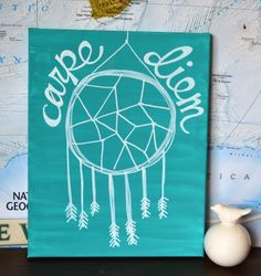 Carpe Diem Canvas Painting Teal or Any Color Dream Catcher Trendy Dorm Room Painting Wall Art Wall Hanging Quote Seize the Day Inspirational...