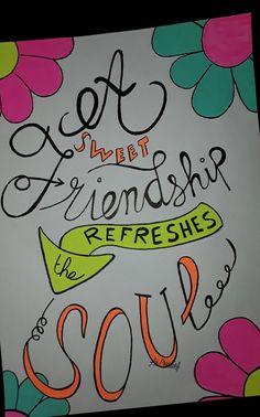 Een fijne vrolijke quote verdiend vrolijke kleuren in een handlettering.  Groetjes An Creatief