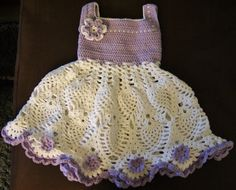 Handmade Cotton Crochet Baby Girl Dress Purple Baby by Crochelina, $99.50