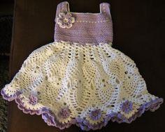 Handmade Cotton Crochet Baby Girl Dress Purple Baby by Crochelina, $99.50
