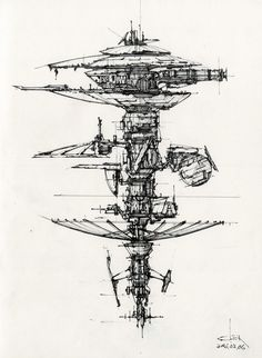 Syd Mead's works has inspired me really a lot, here are more practices using his style to explore space stations, and vehicles. Rocket Drawing, Building Tattoo, Architecture Drawing Sketchbooks, Syd Mead, Concept Art Gallery, Building Sketch, Arte Sketchbook, Robot Concept Art, Science Fiction Art
