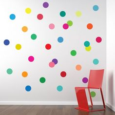 36 FUN bright multi-color dot adhesive fabric wall decals. Removable and reusable polka dot wall stickers. Our dot wall decals add a beautiful bright rainbow of colors to your walls! Great for nurseri