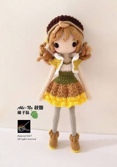 Crochet Doll Pattern AkiNa 秋娜 The Acorn Girl Hello everyone! This is Aki~Na - The Acorn Girl Kindly note that this is not a f. 10 inches Crochet doll amigurumi : Made to order Amigurumi crochet doll How To Crochet an Amigurumi Rabbit - Crochet Ideas 1 Crochet Doll Pattern, Crochet Patterns Amigurumi, Amigurumi Doll, Crochet Dolls, Crochet Hats, Yarn Dolls, Crochet Doll Clothes, Crochet Basics, Stuffed Toys Patterns