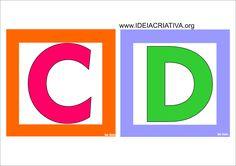 Alfabeto Quadradinho Colorido para Imprimir Grátis Alphabet Pictures, Alphabet For Kids, English Classroom, Toy Story Birthday, Classroom Decor, Kindergarten, Teacher, Letters, Education