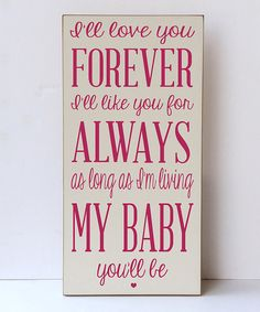 Cream & Pink 'Love You For Always' Wall Sign