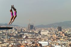 Zsofia Reisinger and Gyongyver Villo Kormos of Hungary compete in the Women's 10m Springboard Diving final on day three of the 15th FINA World Championships at Piscina Municipal de Montjuic on July 22, 2013 in Barcelona, Spain.