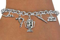 Swim / Swimming Five Charm Bracelet - Silver Chain Bracelet w Silver Charms