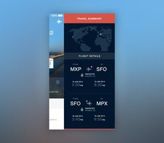 Travel app menu / ste design