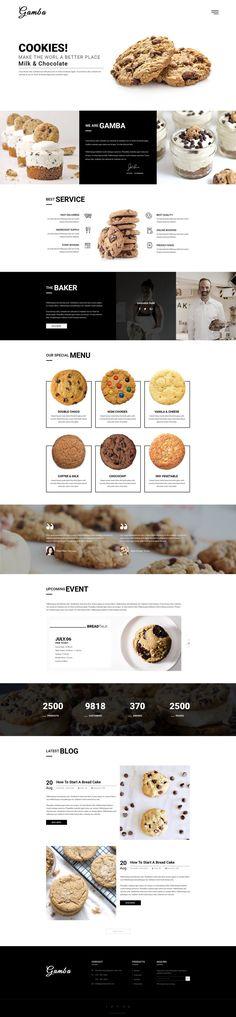 Gamba Bakery, Cakery, Pizza & Pastry Shop PSD Template by GambaThemes - Pastry Supermarket Food Web Design, Bakery Design, Menu Design, Page Design, Layout Design, Branding Design, Ux Design, Layout Web, Website Layout