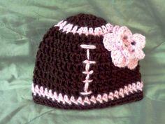 Crochet Girls Football Hat
