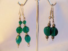 2 Pairs of deep emerald green glass earrings by SparkleandComfort, $12.99