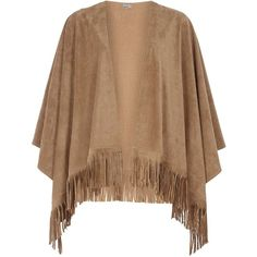 **Vero Moda Camel Fringed Poncho ($49) ❤ liked on Polyvore featuring outerwear, white, camel poncho, fringe poncho and white poncho