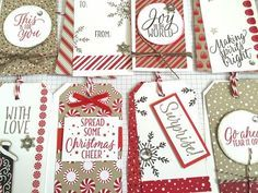 using the Candy Cane DSP & Tin of Tags Stamp Set.  8 Christmas Gift Tags with Matching 3x3 Notecards