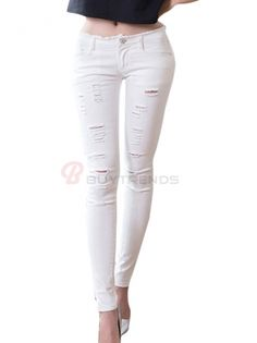 Appealing Skinny Low Waist Hole Pure Color Denim Jeans White on buytrends.com