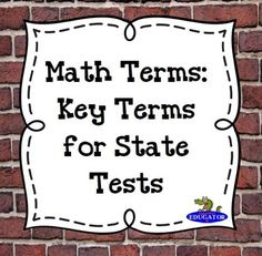 Math Terms: Key Terms for State Tests by HappyEdugator | Teachers Pay Teachers