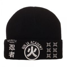 fabb5421118 Naruto Black Beanie Hat Omni Ninja Academy Shippuden Hidden Leaf Village  Stars
