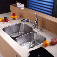 """Kitchen Combos 32"""" x 20.75"""" Double Bowl Undermount Kitchen Sink with Faucet"""