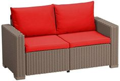 Red Replacement 4 Piece Seat Cushions Set for Keter Allibert California Outdoor Rattan 2 Seater Sofa
