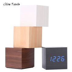 Buy Multicolor Sounds Control Wooden Clock New Modern Wood Digital LED Desk Alarm Clock Thermometer Timer Calendar Table Decor Led Alarm Clock, Digital Alarm Clock, Cosy Home Decor, Thermometer, Wooden Cubes, Digital Timer, Wood Clocks, Buy Wood, Wooden Frames