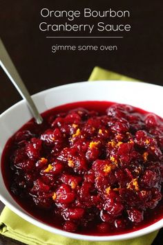 Kick up your cranberry sauce this #Thanksgiving with a little orange and bourbon! http://gimmesomeoven.com