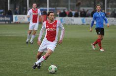 Laurent Delorge van Ajax (amateurs) tijdens het districtsbekerduel tegen AFC, gespeeld op 01-03-2014.