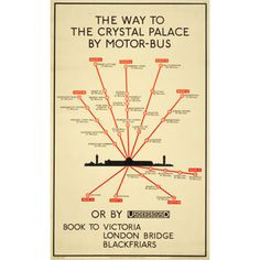 The way to the Crystal Palace by motor bus (map), by unknown artist, 1920 Published by Underground Electric Railway Company Ltd, 1920 Transport Map, London Transport Museum, Transport Posters, Public Transport, Vintage London, Old London, South London, Crystal Palace, Hyde Park