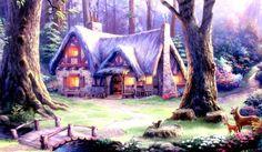 Thomas Kinkade Disney Paintings | Thomas Kinkade Art Disney Snow White Classic Canvas