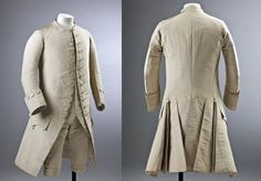 Three piece wedding suit (frockcoat, waistcoat and breeches), late 1760s, England, cream silk. Ham House, Surrey. [Note: No precise date given but looking at the cuffs and construction appears late 1760s. Happy to be corrected.] http://www.nationaltrustimages.org.uk/image/194055