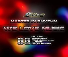 On air from 22 .... Master In Rhythm su Radio Energy...  22-23 Joseph Mingus 23-24 Paolo Mojo From 303 Lovers 00-01 Marco Mei 01-02 New SoundOrder  Stay tuned !!! www.radioenergy.to - F.M. 93.9