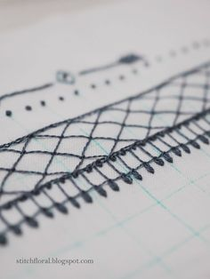stitching border Work Basics, Lazy Daisy Stitch, French Knots, Straight Stitch, Lace Border, Hand Stitching, Embroidery Designs, Cross Stitch, Floral