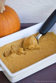 Clean Eating Pumpkin Ice Cream - (Makes 6 servings) Ingredients: 4 medium bananas, sliced and frozen overnight, 1 cup pumpkin puree,  1/3 cup maple syrup,  1 1/2 tsp. pumpkin spice Directions:Using a food processor, blend the bananas, pumpkin, maple syrup, and pumpkin spice thoroughly. Transfer to a freezer-safe container and freeze for 24 hours